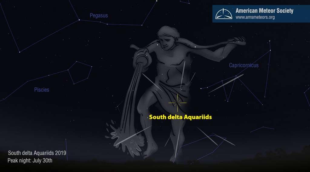 Le radiant des Delat Aquarides du Sud est au sein du du Verseau. Comptant très peu d'étoiles brillantes, il est possible de la repérer _via_ le Capricorne qui le précède. La constellation est visible entièrement au-dessus du sud-est qu'à partir de minuit. La planète Neptune (invisible à l'œil nu) séjourne ces dernières années dans le Verseau. Non loin, en direction du sud et sud-ouest : Saturne et la très brillante Jupiter. © AMS
