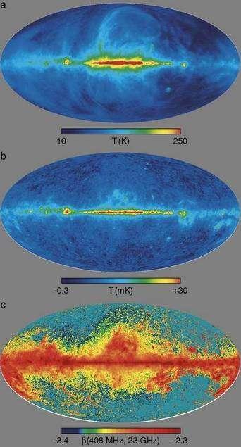 Une représentation de la partie des avant-plans provenant des émissions synchrotrons dans la Voie lactée. On voit clairement une relation avec le disque et le bulbe galactique ce qui aide à soustraire ce type d'avant-plan des observations de Planck. © Nasa WMap Science Team
