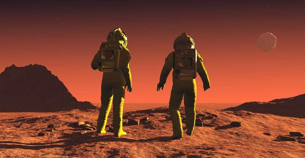 Des astronautes qui arriveraient sur Mars au terme d'un long voyage risquent d'avoir bien mal au dos… © SergeyDV, Shutterstock