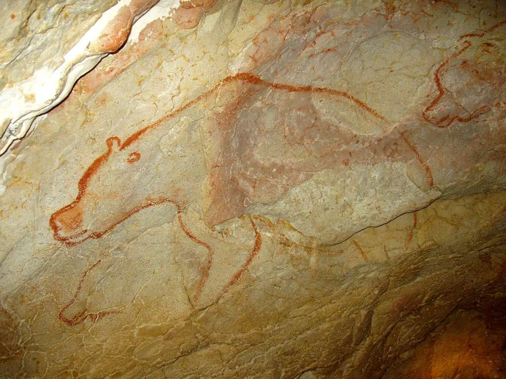 Trois ours, peints en rouge, courent dans la grotte Chauvet-Pont d'Arc. © Jean Clottes, DR