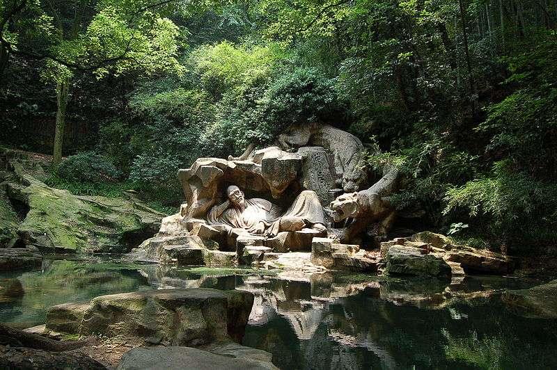 La source du rêve du tigre et sa sculpture, à Hangzhou