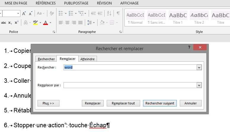 La combinaison CTRL + H ouvre la fonction rechercher et remplacer dans Word. © Futura-Sciences