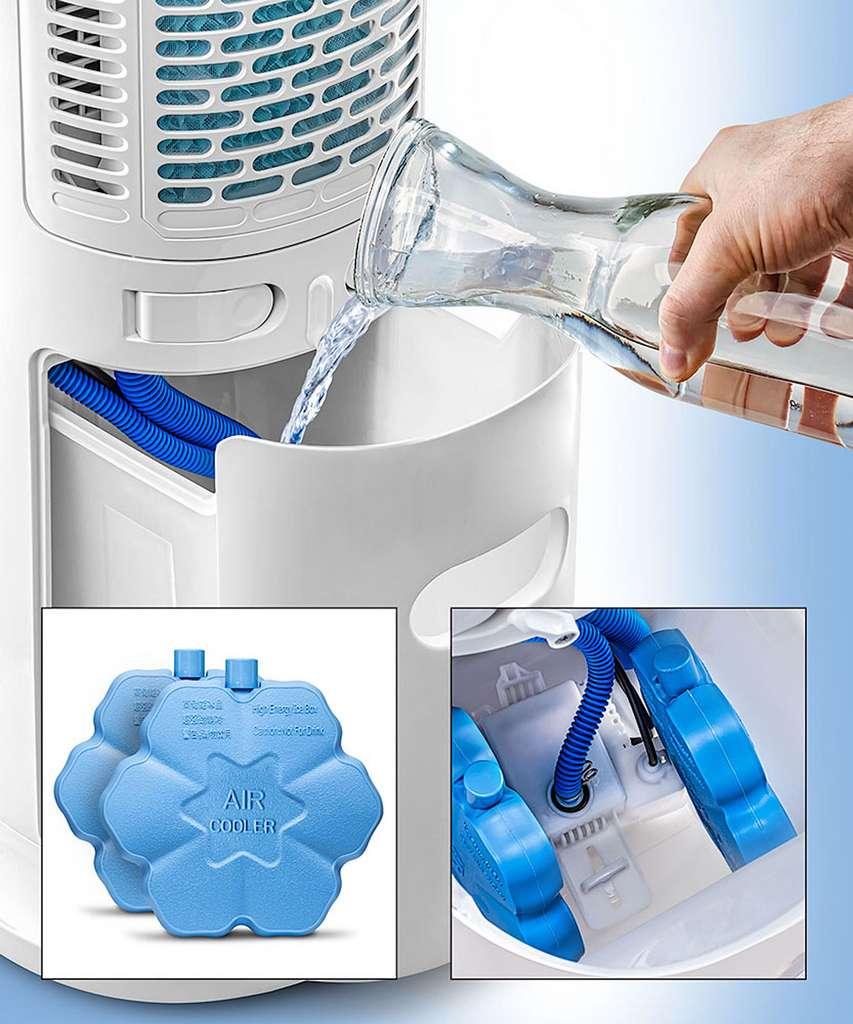 Parfois proposés en option, les blocs réfrigérants sont du même type que les modèles domestiques. On peut aussi ajouter des glaçons pour refroidir l'eau. © Trotec
