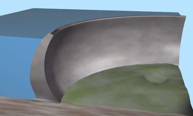 La forme courbe des barrages-voûtes permet de reporter les efforts dus à la poussée de l'eau sur chaque côté des rives. Il est particulièrement adapté aux vallées étroites. © Luk, Wikimedia Commons, cc by sa 3.0