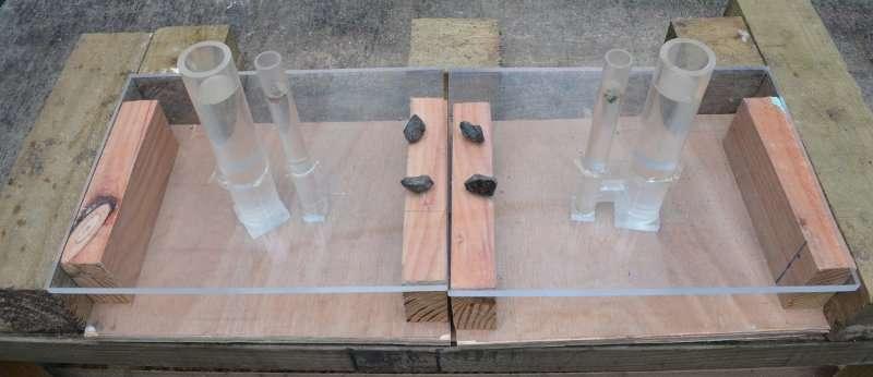 Deux paires de tubes en U, avec un dispositif similaire à celui de l'image précédente : à droite, les deux sont solidaires et il est donc possible de faire monter le ver dans le petit tube en lâchant des pierres dans le grand. La plaque de plexiglas rendant le mécanisme visible, il est évident qu'à gauche, le ver ne sera pas accessible. Mais pour un corvidé, c'est un raisonnement trop subtil. © 2014 Logan et al.