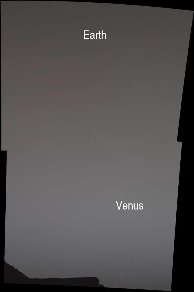 Sur cette image, la Terre et Vénus sont à peine visibles. La faute aux poussières qui, à cette période de l'année martienne, rendent invisibles même les étoiles modérément brillantes. © JPL-Caltech, Nasa