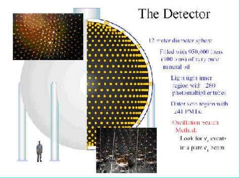 Le détecteur de neutrinos rempli d'huile minérale très pure. Notez les capteurs à effet Cerenkov recouvrant sa surface interne. © Janet M. Conrad