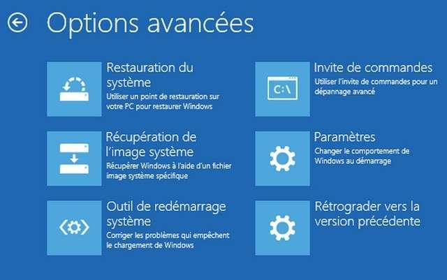 Sous Windows 8 et 10, l'accès à l'utilitaire de restauration passe par une combinaison touche Shift+redémarrage. © Microsoft