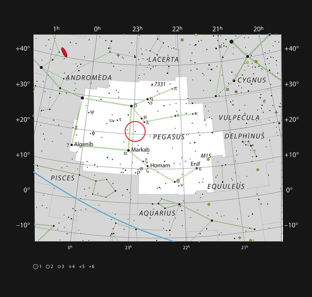 Cette carte montre la constellation de Pégase (le Cheval ailé), très étendue dans le ciel boréal. L'étoile 51 Pegasi, peu lumineuse au point d'être insignifiante et difficilement observable à l'œil nu, est entourée d'un cercle rouge. © ESO, IAU and Sky & Telescope