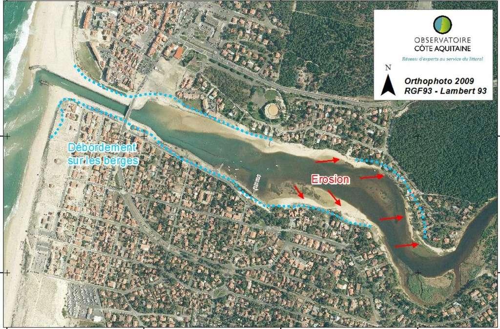 L'érosion constatée sur l'estuaire de Mimizan-Plage. © BRGM