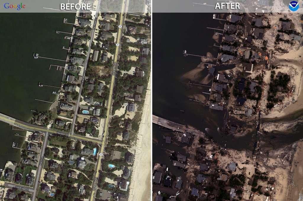 Mantoloking est une île au sud de New York. Très longue, elle abrite la baie de Silver. L'image « avant » vient de Google Earth et l'image « après » a été obtenue grâce aux avions de la NOAA. © NOAA