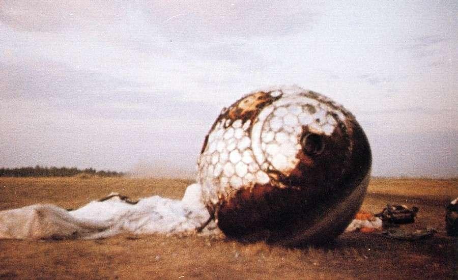 La capsule Vostock 1 après son retour sur Terre. © RIA Novosti