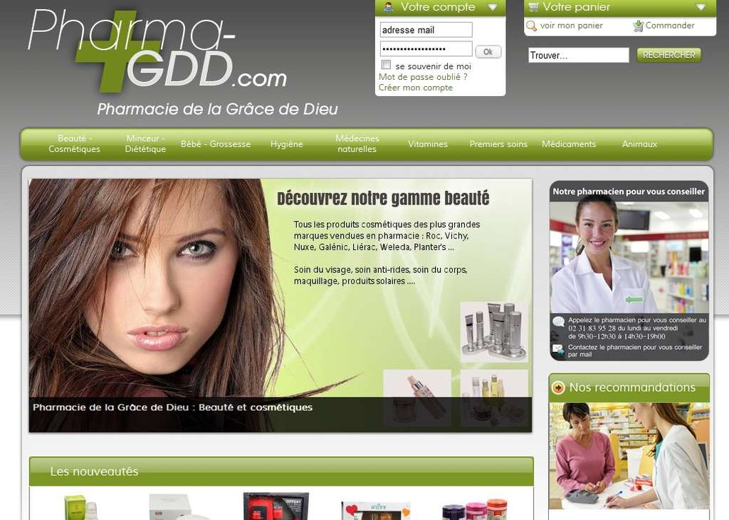 La pharmacie de la Grâce de Dieu, à Caen, ainsi que la pharmacie du Bizet à Villeneuve-d'Ascq, ont devancé le législateur et proposent des médicaments sur Internet depuis le mois de novembre. © GDD.com