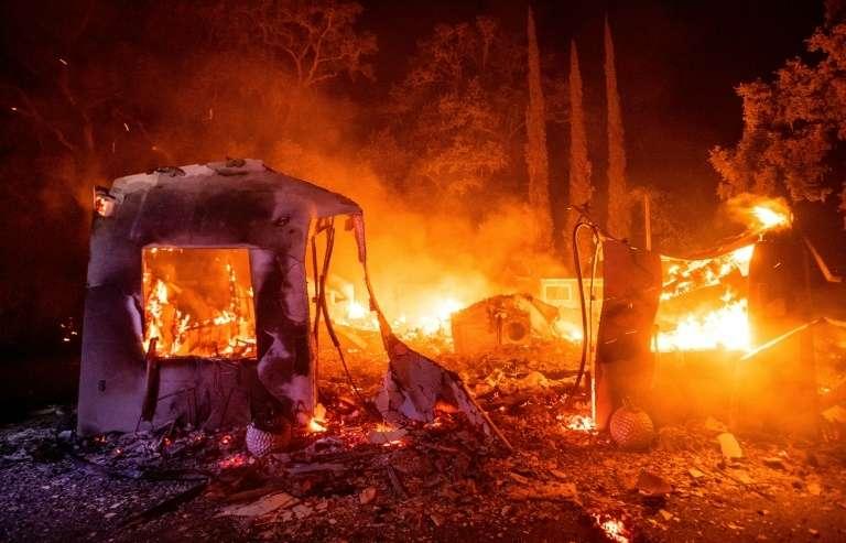 Une maison dévastée par les flammes, à Vacaville, le 19 août 2020. © Josh Edelson, AFP