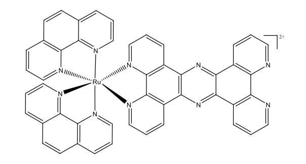 La structure chimique du composé que les chercheurs de l'université de Sheffield ont identifié comme actif contre les superbactéries : le [Ru(phen)2(tpphz)]2+. © Université de Sheffield