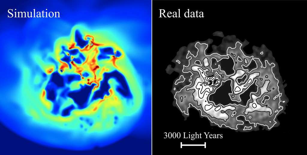 L'image de gauche montre la densité d'hydrogène dans une galaxie naine simulée, vue d'en haut. L'image de droite montre la même chose pour une véritable galaxie naine, IC 1613. Dans la simulation, des entrées et des sorties répétées de gaz du centre de la galaxie font fluctuer l'intensité du champ gravitationnel. La matière noire répond à cela en migrant du centre vers l'extérieur de la galaxie, comme le ferait un gaz chauffé qui se dilate et monte dans l'atmosphère. Un effet connu sous le nom de « chauffage de la matière noire ». © Justin Read et al/University of Surrey.