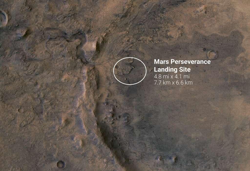 Les travaux initiés par l'équipe de l'université Rice (États-Unis) pourraient profiter à ceux qui étudieront les données renvoyées par le rover Perseverance lorsqu'il atterrira sur Mars, en février prochain, dans le cratère Jezero. © ESA, DLR, FU-Berlin, Nasa, JPL-Caltech
