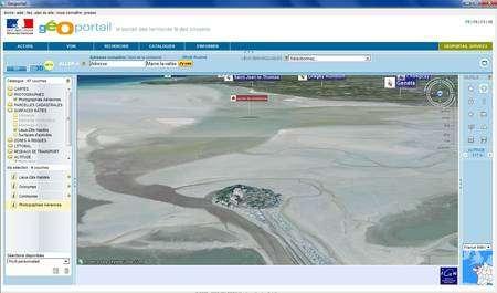 (Cliquer pour agrandir) L'interface de Geoportail 3D © IGN