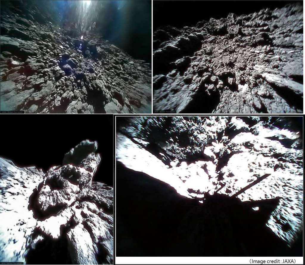En haut à gauche : surface de Ryugu photographiée par le rover 1B juste avant un saut, le 23 septembre. En haut à droite : photo prise par le rover 1B le 23 septembre après son atterrissage sur l'astéroïde. En bas à gauche : rocher photographié le 23 septembre par le rover 1A. En bas à droite : le rover 1A et son ombre projetée sur la surface. © Jaxa, @_RomanTkachenko