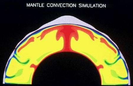"""Simulation du magma se répandant sous le """"plafond"""" de la croûte martienne. Crédit Walter S. Kiefer and Amanda Kubala, LPI."""