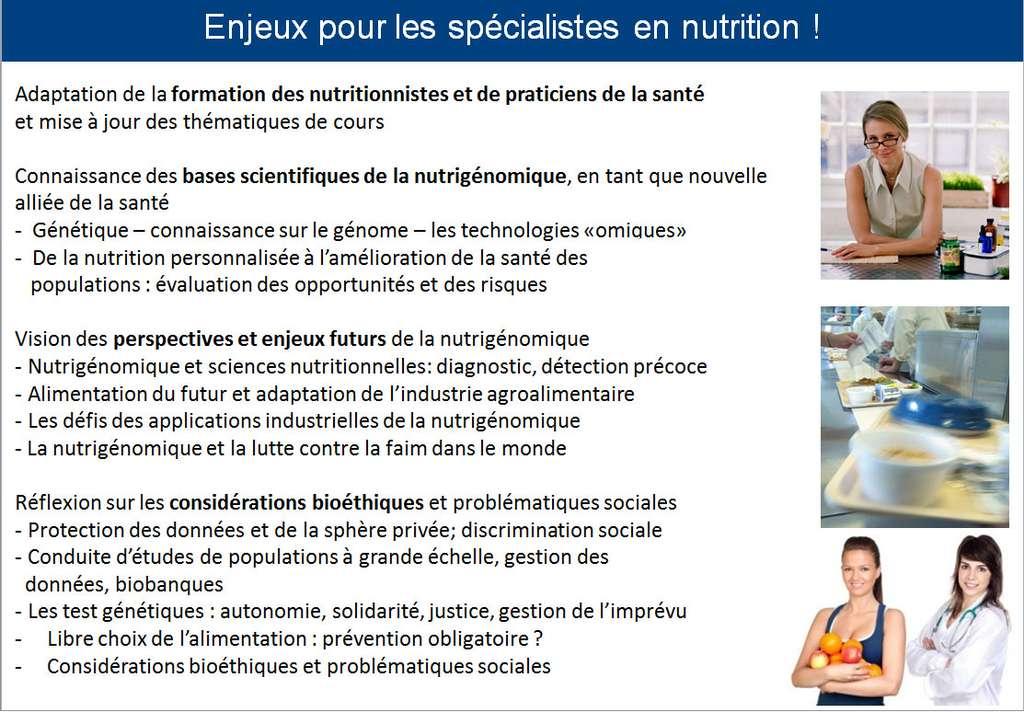 Exemple d'intégration des concepts de la nutrigénomique dans un cursus dédié à la nutrition. © DR