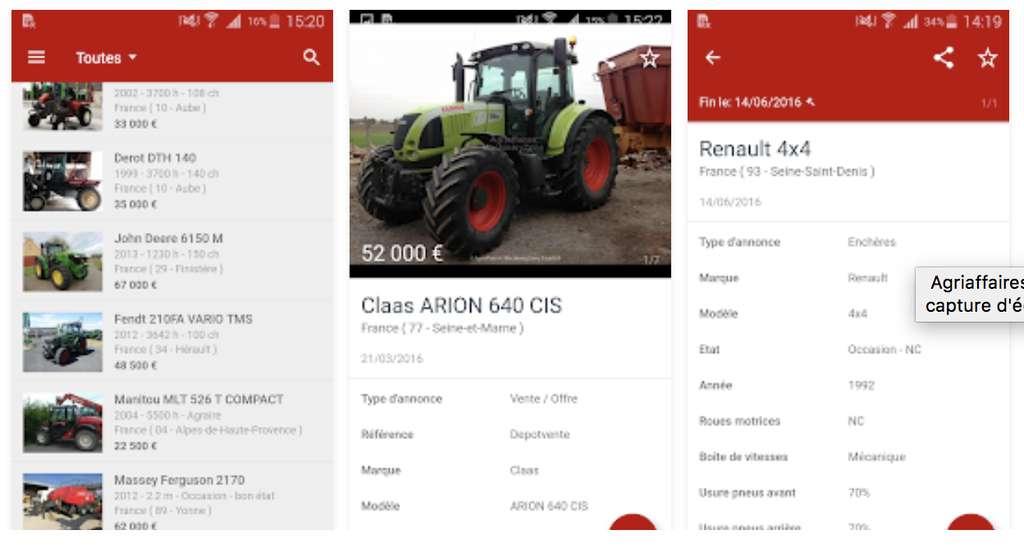 Capture d'écran de l'application Agriaffaires sur Android. © Agriaffaires