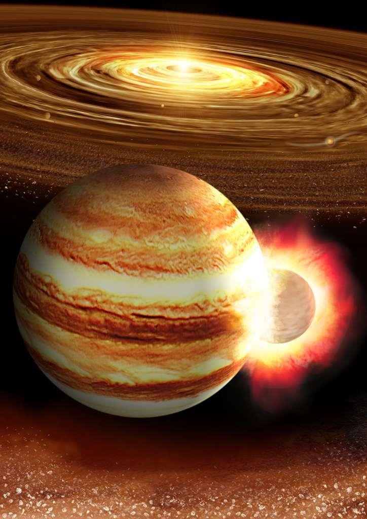 Une vue d'artiste d'une possible collision, au tout début de la formation du Système solaire, entre la proto-Jupiter et un embryon planétaire solide d'environ 10 masses terrestres. © K. Suda & Y. Akimoto/Mabuchi Design Office, courtesy of Astrobiology Center, Japan