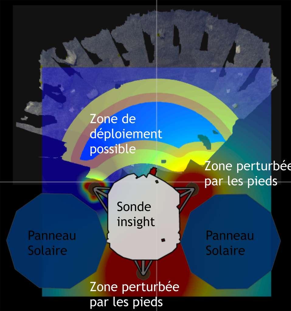 Exemple de carte de bruit sismique. En rouge, les zones où suivant le vent dominant l'instrument est le plus perturbé par les pieds de l'atterrisseur (représenté ici de manière schématique). En bleu, la zone possible de déploiement du sismomètre. Les cartes d'accessibilité par le bras robotique sont superposées à une vue simulée de la zone d'atterrissage. © ISAE-SUPAERO, JPL, Caltech
