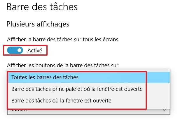 Modifiez les options de la barre des tâches à votre convenance. © Microsoft