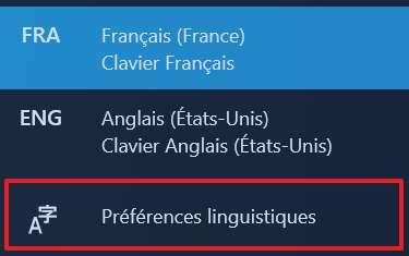 Rendez-vous dans les « Préférences linguistiques ». © Microsoft