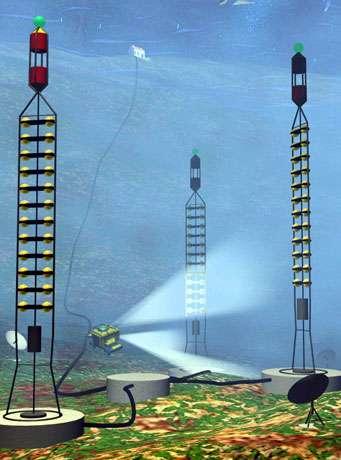 Fig. 12 - Le détecteur ANTARES pour voir les neutrinos d'origine très lointaine