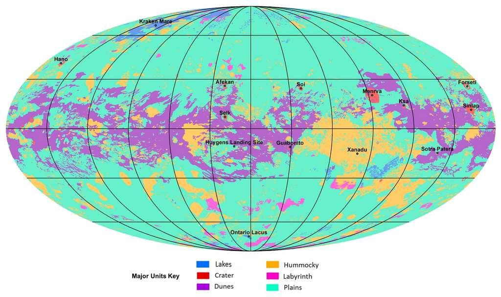 Voici la première carte géologique de Titan. Les lignes noires indiquent des variations de 30 degrés en latitude et longitude. La carte est en projection Mollweide, une vue globale qui tente de minimiser les distorsions de taille, en particulier aux pôles. L'échelle est de 1: 20.000.000. Dans la figure annotée, la carte mentionne plusieurs régions ayant reçu des noms. Le site d'atterrissage de la sonde Huygens Probe de l'Agence spatiale européenne (ESA), qui fait partie de la mission Cassini de la Nasa, est également situé. Les couleurs de la légende de la carte représentent les grands types d'unités géologiques trouvées sur Titan avec en anglais : Plains (des régions larges et relativement plates), Labyrinthe (des régions perturbées tectoniquement contenant souvent des canaux fluviaux), Hummocky (collines avec quelques montagnes), Dunes (principalement des dunes linéaires produites par les vents dans l'atmosphère de Titan), Crater (formés par les cratères d'impacts) et Lakes (des lacs remplis ou précédemment remplis de méthane liquide ou d'éthane). © Nasa, JPL-Caltech, ASU