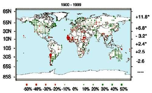 A l'échelle du siècle, les précipitations ont nettement diminué en Afrique de l'ouest (en rouge), alors qu'elles ont augmenté dans d'autres régions du globe comme la France, l'Amérique du Nord, l'Inde et l'Australie. © IPCC