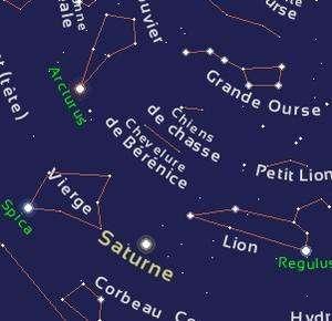 Saturne se trouve pour plusieurs mois dans la constellation de la Vierge qui culmine au-dessus de l'horizon sud en milieu de nuit.