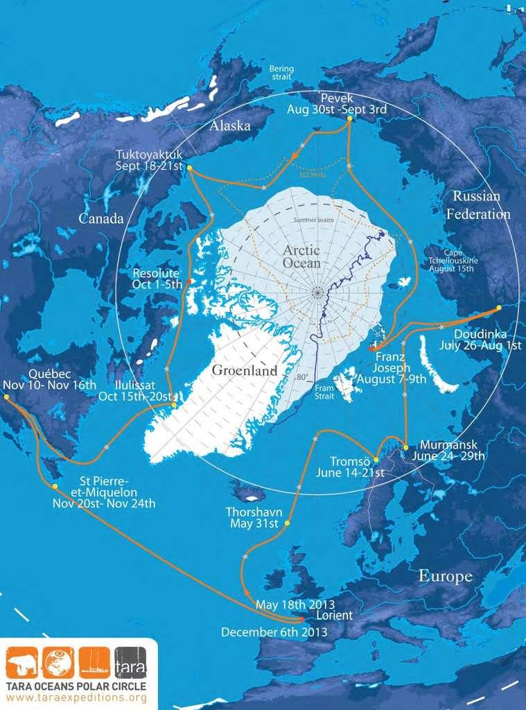Itinéraire que suivra Tara Oceans Polar Circle 2013 entre mai et décembre 2013. Les étoiles grises indiquent les positions prévues des stations de prélèvement. © Tara Expéditions