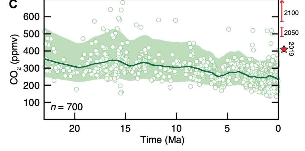 En ordonnée, les concentrations de CO2 en ppmv selon le temps en millions d'années. La fourchette estimée est représentée en vert. L'étoile rouge montre le taux de 2019. © Adapté de Yung Cui et al. Geoscience World