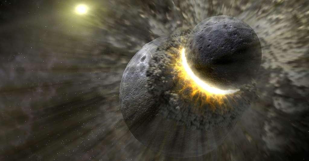 Ce concept d'artiste illustre comment une collision massive d'objets, peut-être aussi grande que la planète Pluton. © © NASA/JPL-Caltech/T. Pyle (SSC)