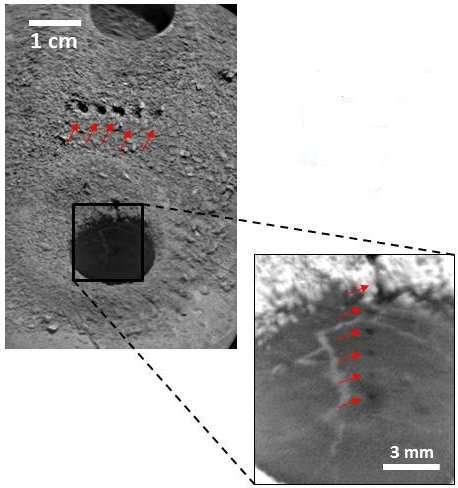 Des essais de tirs au laser par l'instrument ChemCam à côté et à l'intérieur d'un trou foré par la perceuse. Ou la démonstration de la précision des tirs... © Nasa, JPL-Caltech, MSSS