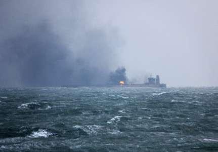 Le pétrolier Sanchi en feu. © Ministère chinois des Transports, AFP