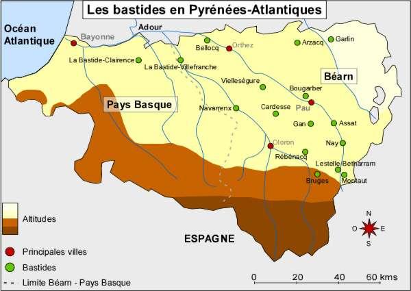 Carte des bastides en Pyrénées Atlantiques, du Pays basque au Béarn. © CRDP Bordeaux
