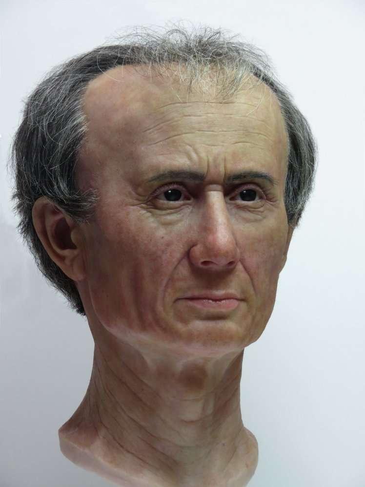 Reconstitution en trois dimensions du visage de Jules César. Le crâne a une allure anormale. © Maja d'Hollosy, Musée national des antiquités de Leiden