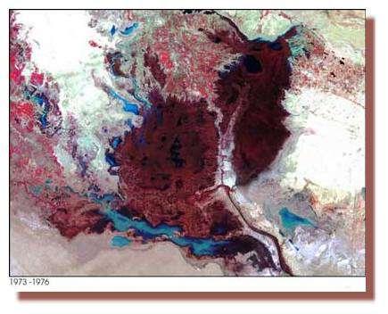 Vue par satellite des marais en 1973/1976 - Nasa