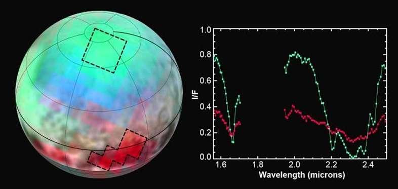 Un exemple des données sur lesquelles travailleront les planétologues dans les années à venir. L'instrument Leisa, un spectromètre infrarouge, a analysé le sol de Pluton dans trois longueurs d'onde correspondant au méthane, l'une étant moyennement absorbée par la glace de ce composé (représenté par la couleur bleue), la deuxième n'étant pas absorbée (en vert) et la troisième fortement absorbée (en rouge). De quoi reconstituer la texture de cette couverture glaciaire. © Nasa/JHUAPL/SWRI