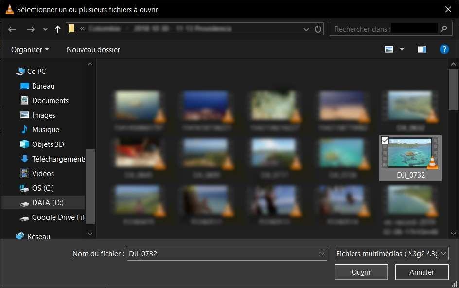 Sélection d'un fichier vidéo à ouvrir. © VLC Media Player