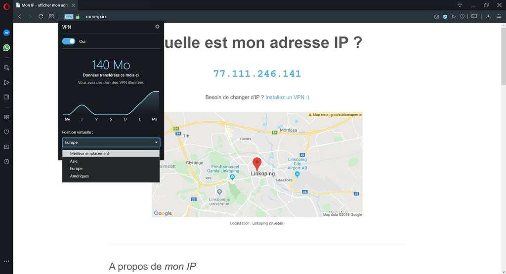 Le menu VPN rapide est accessible depuis la barre d'adresse et permet de choisir l'emplacement du serveur. © Opera Software