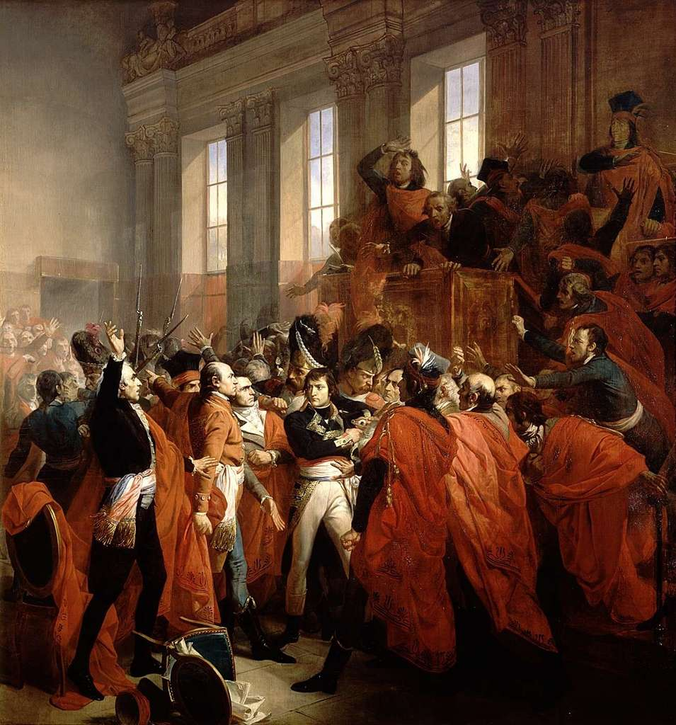 « Le général Bonaparte au Conseil des Cinq-Cents, à Saint-Cloud, le 9 novembre 1799 », par François Bouchot en 1840. Château de Versailles. © RMN - Grand Palais, domaine public