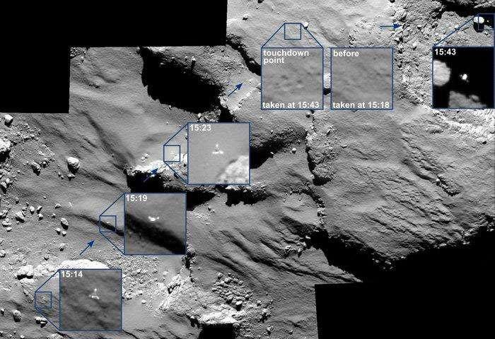 Les rebonds (non prévus) qu'a effectués Philae lors de son atterrissage sur la comète Tchouri. © Esa/Rosetta/MPS for OSIRIS Team MPS/UPD/LAM/IAA/SSO/INTA/UPM/DASP/IDA