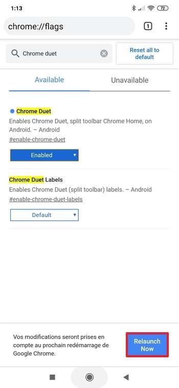 Appuyez sur le bouton « Relaunch now » pour relancer Chrome. © Google
