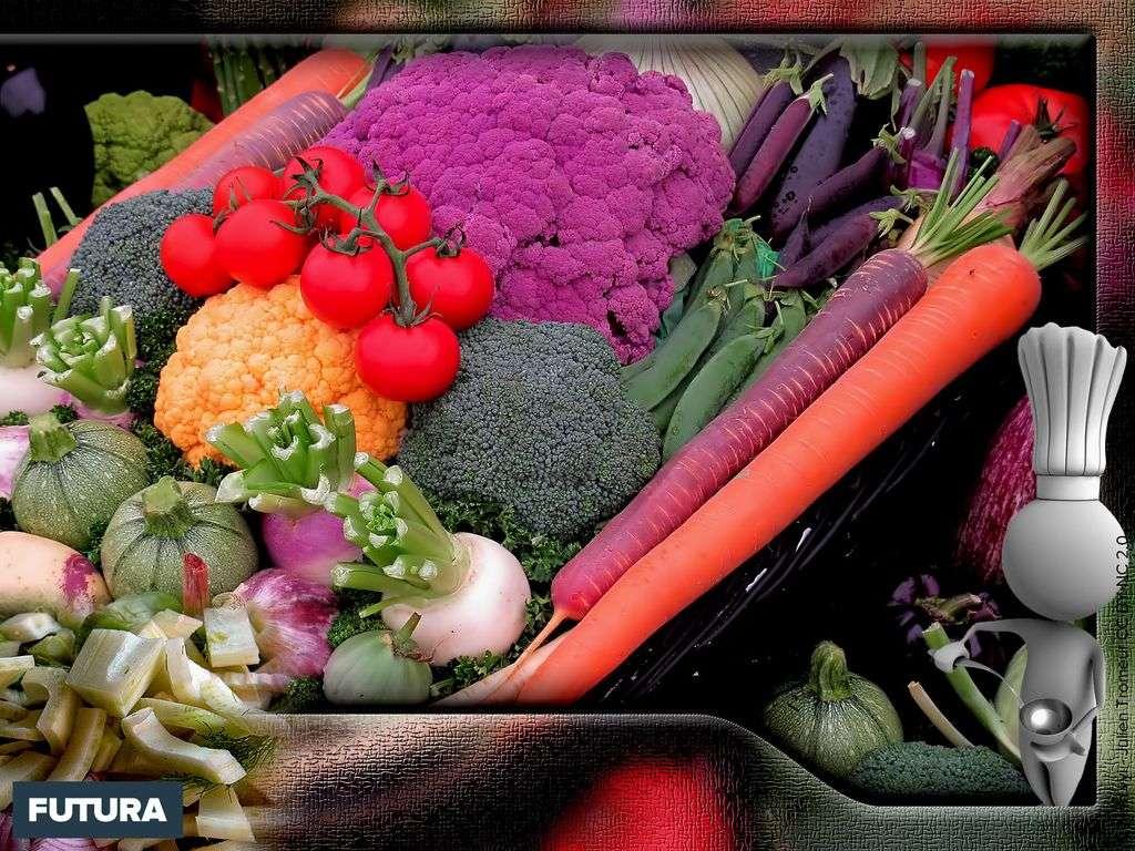 Choux violet, jaune, brocolis, carottes