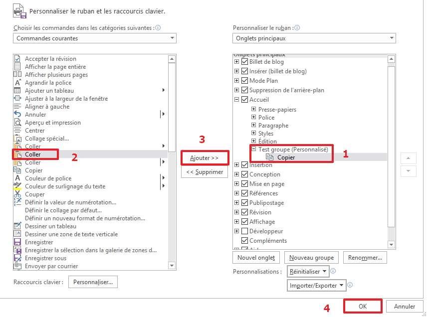 Ajoutez les commandes que vous voulez à l'intérieur du groupe sélectionné. © Microsoft